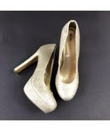 Mossimo Platform Glitter Gold Metalic High Heels Womens 8.5 8 1/2 - $19.80