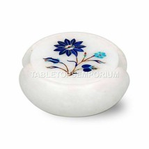 Buy Online Marble Cup Coaster Set Lapis Inlaid Marquetry Art Black Friday Gift - $227.50