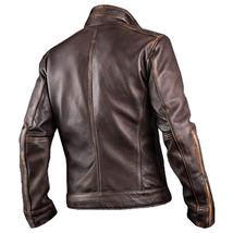 Mens Biker Vintage Dark Brown Rider Cafe Racer Real Biker Genuine Leather Jacket image 3