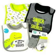Baby Boy Dinosaur Bibs and Socks Set Green Grey Carter's Child of Mine - $22.19
