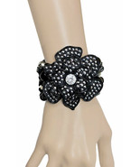 "2.5"" Black Rose Flower Chunky Statement Bracelet Clear Rhinestones, Punk... - $16.15"