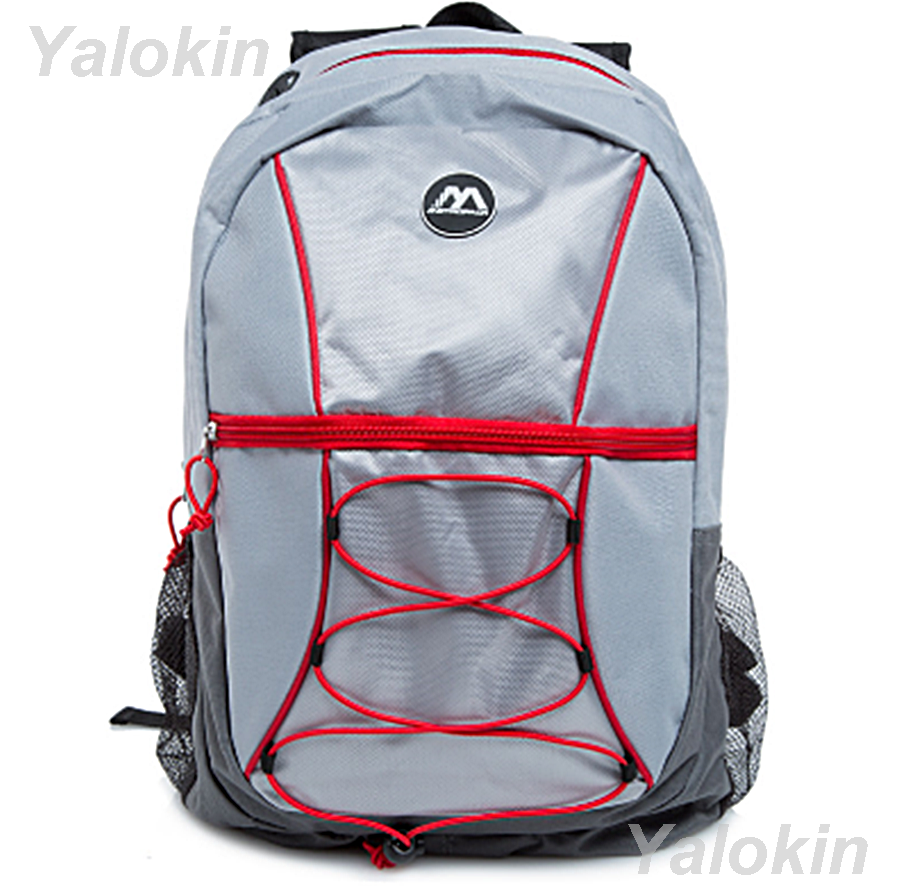 Primary image for NEW Light Grey with Red Ripcord Unisex Fashion Backpack Shoulder Book Bag