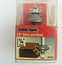 """Vermont American 1/8"""" Cove And Bead, 1/4"""" Shank Carbide Tipped Router Bit 23151 - $10.49"""