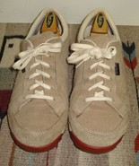 Women's Simple Ivory Suede/Canvas Casual Cool Sneaker Red Sole Sz. 8 NICE! - $33.40