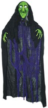 Green Witch Prop Hanging Animated Creepy Light-Up Eyes Haunted House SS7... - £38.41 GBP