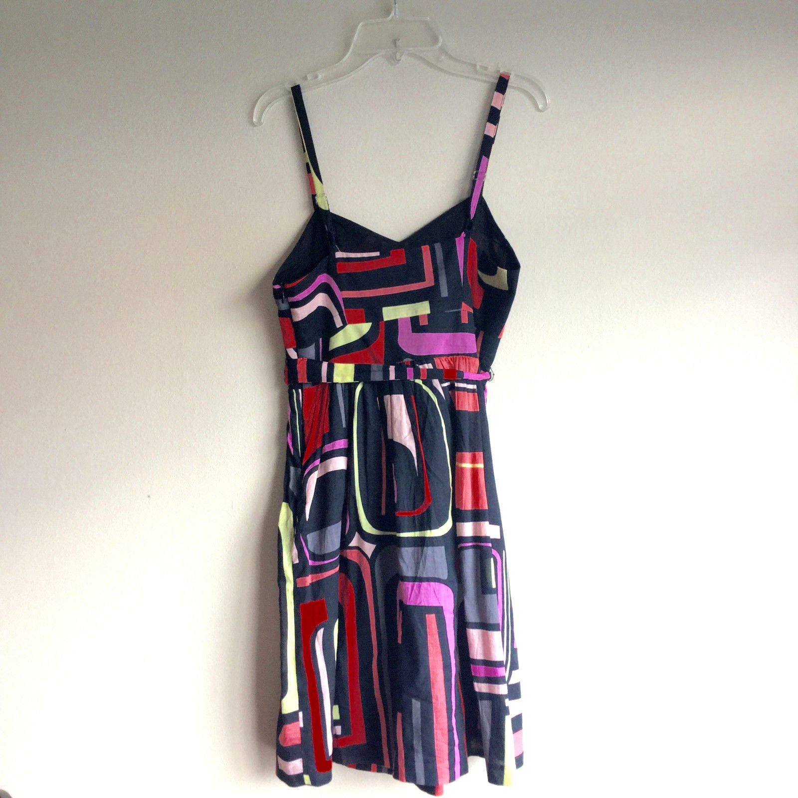 $119 XS Kensie Sweetheart Neckline Black Sundress Neon Abstract Geometric Print