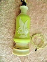 Vtg Green Aladdin Alacite Electric Lamp Lily of the Valley-Harp-Cord Good - $34.49
