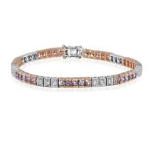 Real 5.72ct Natural Elegante Rosa Diamantes Tenis Brazalete 18K Sólido Oro - $13,451.95