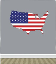 American Flag in the Shape of the US Map PHOTO TEX Removable Cling Wall ... - $9.89+