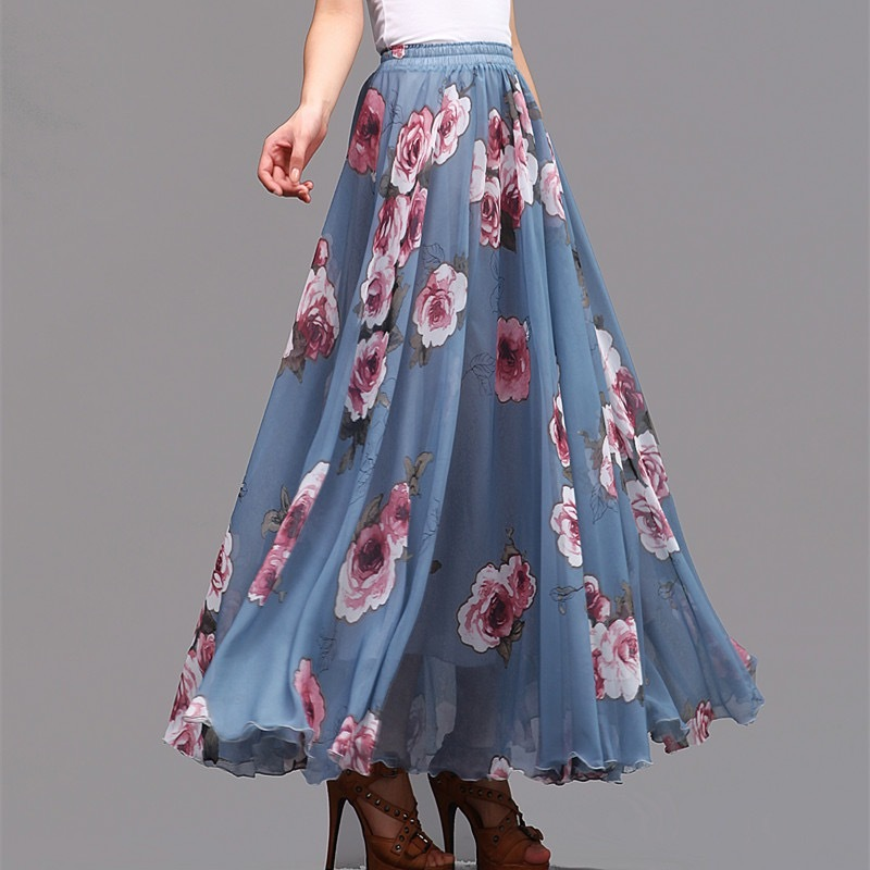 FLORAL Chiffon Long Skirt Dusty Blue Flower Silk Chiffon Skirt Summer Wedding