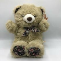 """Vintage Fiesta Teddy Bear 6061 America Wego 16"""" Tan Black Floral Bow Paws - $24.74"""