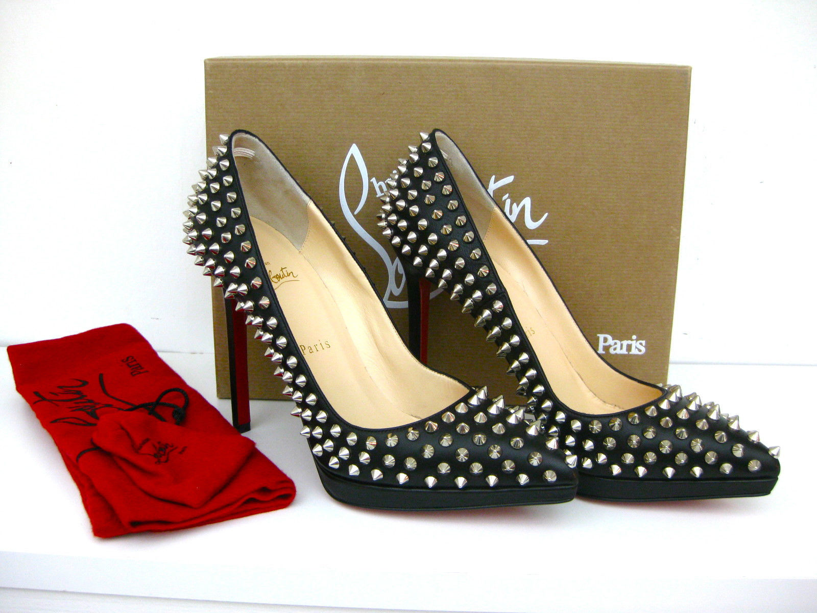 3413a26e5b7f Christian Louboutin Shoes Pigalle Plato Black Silver Spikes 120 heels S  39  NEW