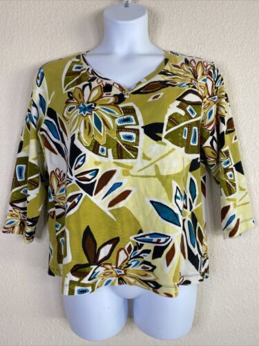 Primary image for Chico's Womens Size 3 Green Floral Pattern Blouse 3/4 Sleeve V Neck