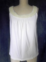 TALBOTS Stretch Beaded Scoop Neck Sleeveless Shirt Blouse Tank Top Size S - $8.59