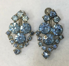 Screw Back Earrings Blue Rhinestones Silver Tone Vintage Set Faux Aquama... - $9.85
