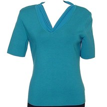 DANA BUCHMAN Plume Blue Crepe Trim Silk Rib Knit Tie Back Neck Top L NEW - $89.99
