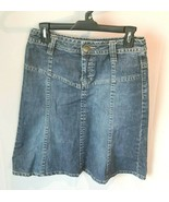 H&M Blue Denim Jean Skirt - Size 6- medium wash distressed small knee le... - $16.82