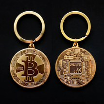 Gold Plated Bitcoin Coin Key Chain BTC Coin Art Collection Design Key Ring Gift image 4