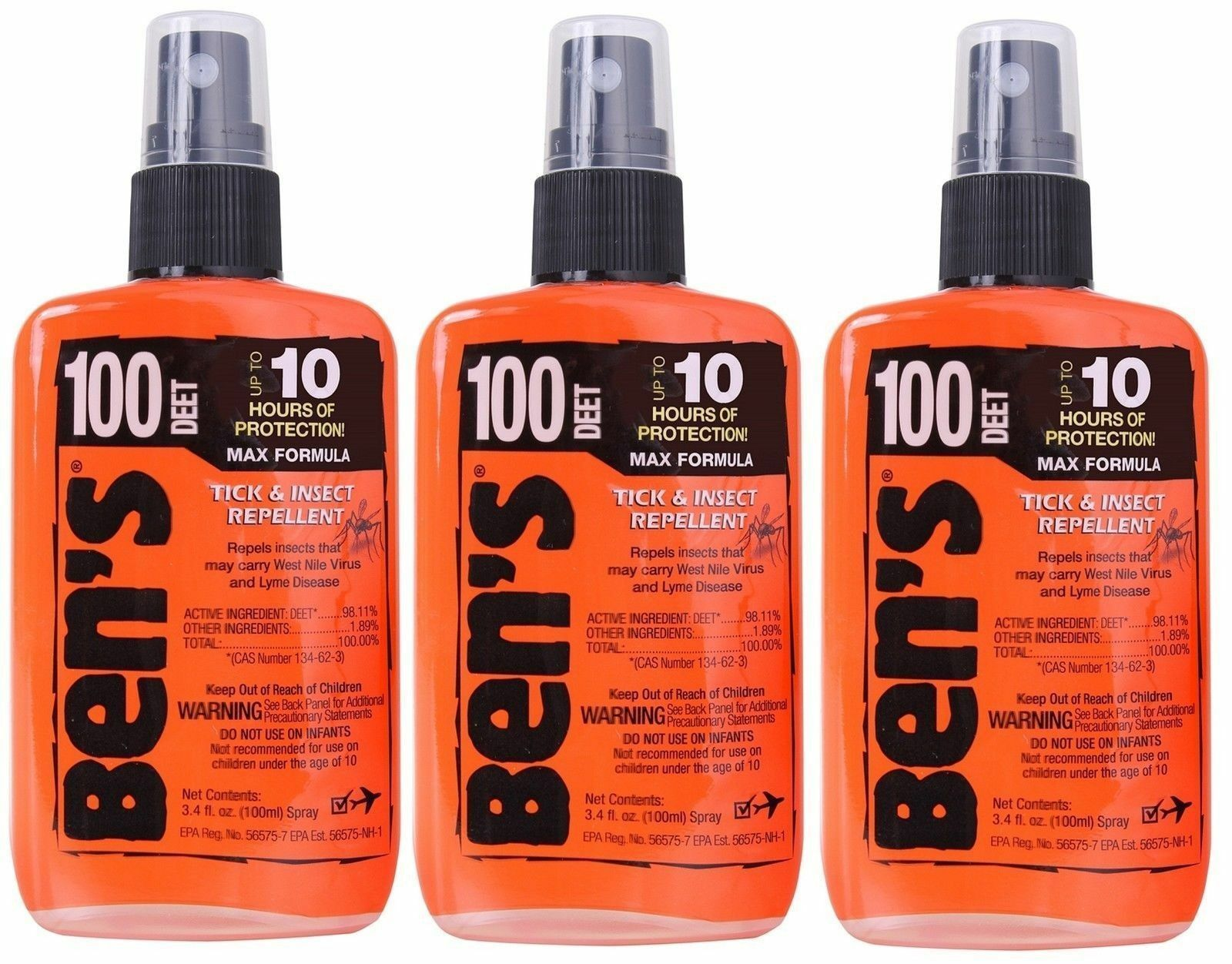 Primary image for 3 Pack Ben's 100% Deet Tick Bug & Insect Military Repellent Spray Pump 3.4oz