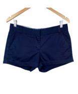 J. Crew Chino Shorts 4 Navy Blue 100% Cotton Classic Casual Dress Womens - $9.74