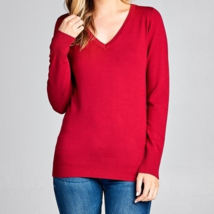 Dark Red Sweater, Long Sleeve Red Sweater, Red Sweater, Colbert Clothing