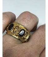 Vintage Garnet Ring Golden 925 Sterling Silver Size 5.5 - $163.35