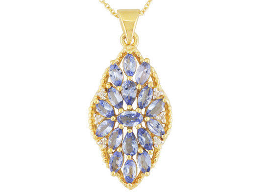2.09ctw Tanzanite and .08ctw White Topaz 18k Gold over Silver Pendant with Chain