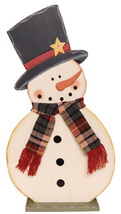 Snowman Decor G34799-Snowman With Scarf on Base  - $13.95