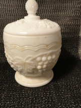 Imperial Glass Grape and Cable Milk Glass Sugar and Lid - $10.39