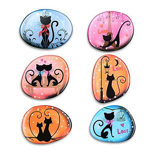 Refrigerator Magnets,Decorative Magnets,Strong Magnets,6 Pack Cat Fridge Magnets