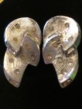 EARRING 1940 CORO Silver Vintage Earrings Clip On Jewelry Art Deco Rhine... - $26.64