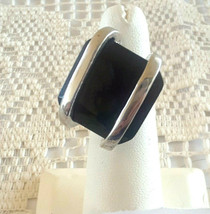 Modernist Black Glass Silver tone Cocktail Ring Size 5 - $5.00