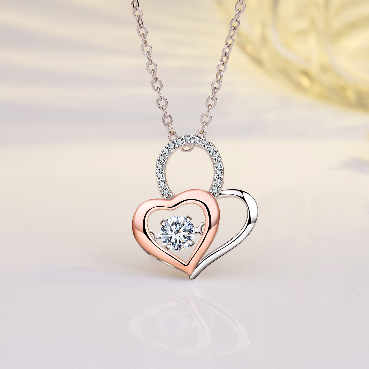 Emma Manor 14k Gold Plated Moveable CZ Forever Lover Heart Pendant Necklace
