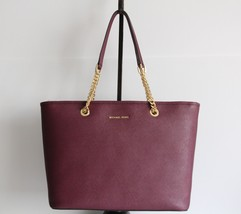 NWT MICHAEL KORS JET SET TRAVEL TOP ZIP CHAIN MULTIFUNCTION LEATHER TOTE... - $183.78