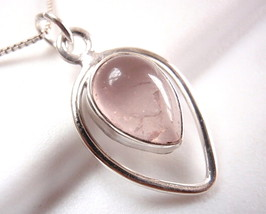 Rose Quartz Necklace 925 Sterling Silver Teardrop in Hoop Pear Shape 3ct New - $18.80