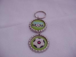 """Soccer Mom Keychain Lime Green Flattened Bottle Caps 4"""" long - $6.00"""