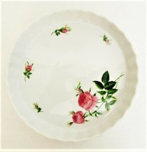 """The Rose Collection Pink Roses Fluted Edge Ceramic Pie Pan Tart Plate 9"""""""