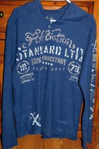 Affliction Blue Hooded Long Sleeve Henley Tee Size Medium - $38.24