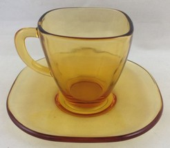 Vtg Amber Glass Square Demitasse Cup and Saucer Vereco Made in France Es... - $14.79