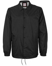 Men's Black Lightweight Water Resistant Windbreaker Coach Jacket w/ Defect  M