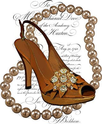 high heel shoe pearl necklace printable art clipart png download digital image