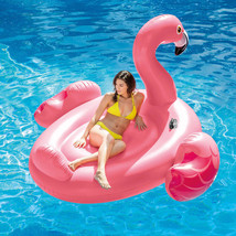 Pool Float Toy Giant Flamingo Island Beach Blowup Lounge Ride Play Relax... - $44.87