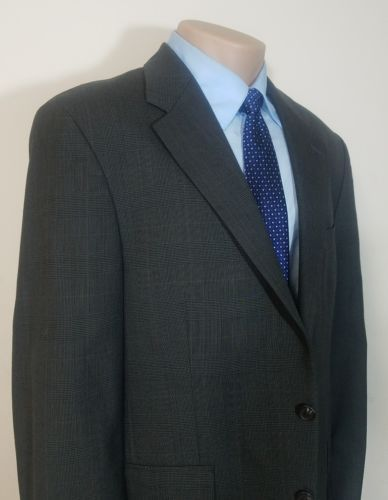 CHAPS RALPH LAUREN MENS SPORT COAT 100% WOOL 42R GRAY TWILL WINDOW PANE RN 90736