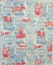 "5 pieces fabric 22""x27"" cotton farm animals old advertising Americana cr... - $14.99"