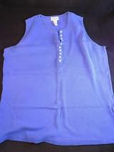 Womens Shirt Sleeveless Cotton 1/2 Button Down Gap Size Medium Blue Casual Top - $8.90
