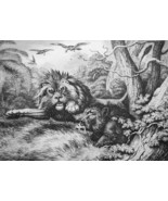 AESOP FABLES Animals Wild Boar & Lion - 1811 Original Etching Print - $30.60