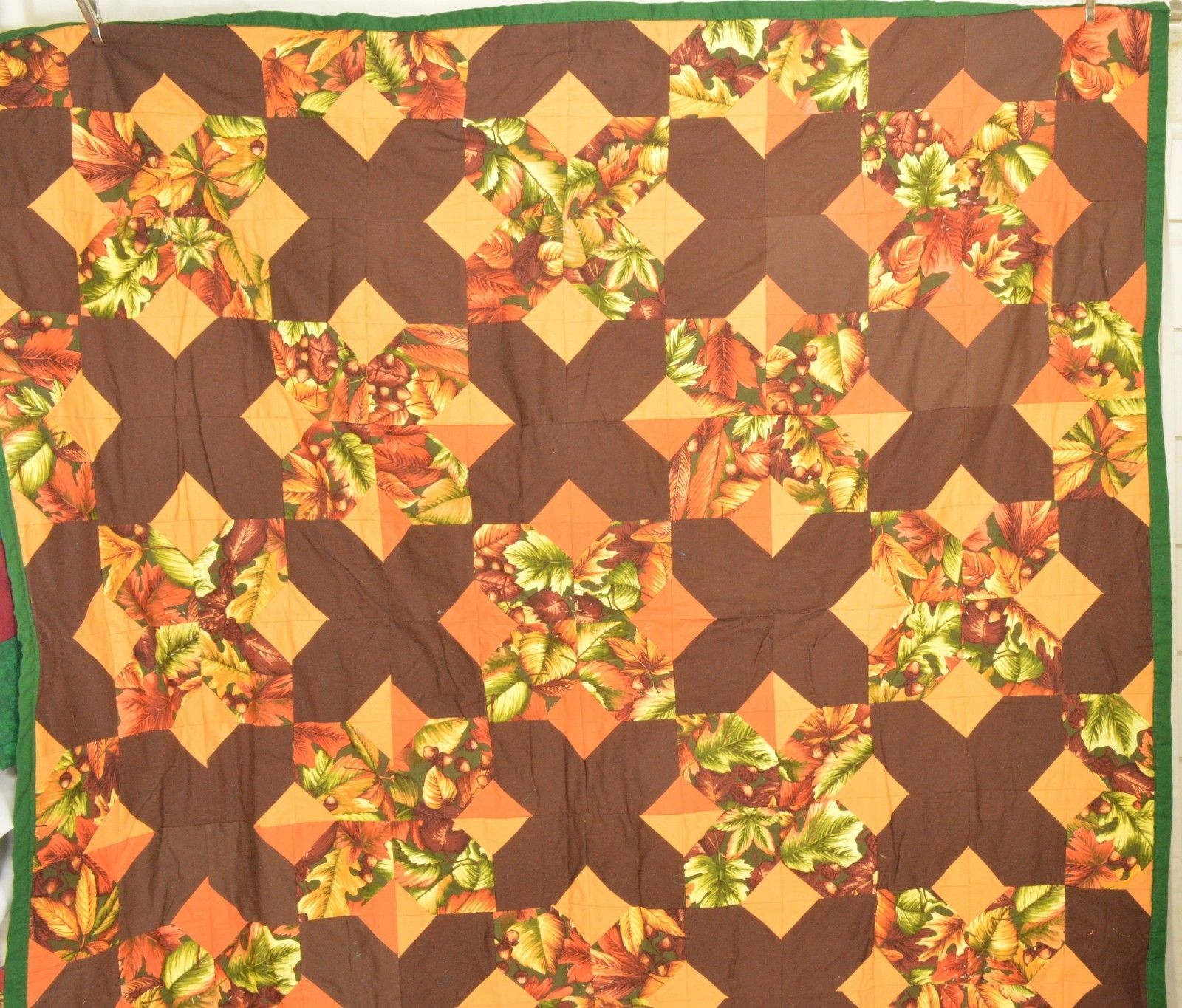 Quilt handmade fall Thanksgiving colors 54 x 54 reversible inches brand new