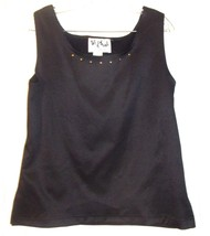 Size M - Joseph Ribkoff  'Talk of the Walk' Black Cami Tank Top w/Brass ... - $42.75