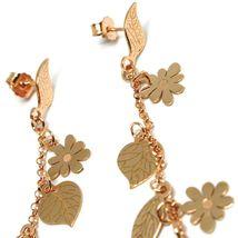 Drop Earrings Silver 925, Leaves, Flowers, Girl on Swing, image 3
