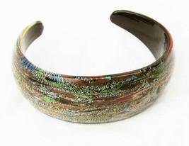 Lucite hard plastic cuff bracelet brown sparkle multi color swirls - $8.42